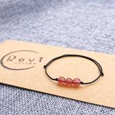 水晶手鏈女韓版瑪瑙簡約月光石轉運珠草莓晶手繩編織個性森系