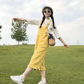 夏季新款韓版小清新大口袋木耳邊九分褲寬鬆連體寬腿褲學生吊帶褲  Cocoa
