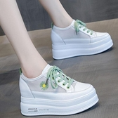 增高鞋 內增高女鞋2021新款夏季網面透氣小白鞋女百搭ins厚底小雛菊網鞋 618促銷