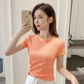 針織衫 2020夏季新款韓版針織衫顯瘦百搭港味短款不規則短袖T恤上衣女裝「草莓妞妞」