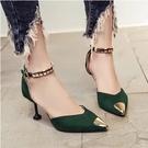 細跟涼鞋女夏5/7厘米百搭性感搭扣黃色綠色尖頭絨面側空包跟單鞋 霓裳細軟