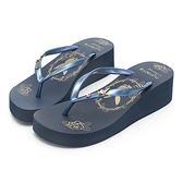 PLAYBOY 復古厚底人字夾腳拖鞋-藍(YT608)