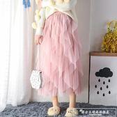 紗裙女秋夏網紗半身裙子蛋糕裙中長款仙女裙網紅chic溫柔超仙『韓女王』