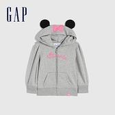 Gap女幼童 碳素軟磨系列 Gap x Disney 迪士尼系列聯名法式圈織連帽上衣 677881-淺灰色