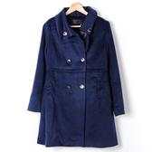 【MASTINA 】排釦拼接式長大衣深藍外套