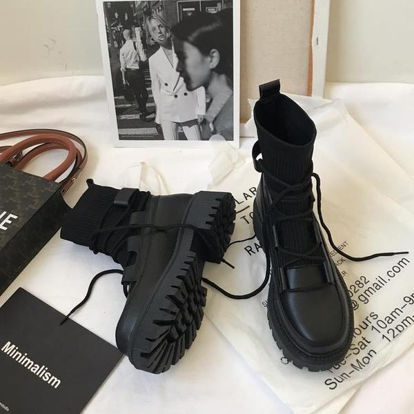 馬丁靴 小sun家 馬丁靴女英倫風網紅中筒靴厚底針織系帶靴子女夏季薄款潮 夢藝家