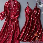 大碼睡裙吊帶兩件套睡袍冰絲綢甜美【橘社小鎮】