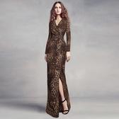 洋裝-豹紋性感包臀開岔修身連身裙2色73ta15【時尚巴黎】