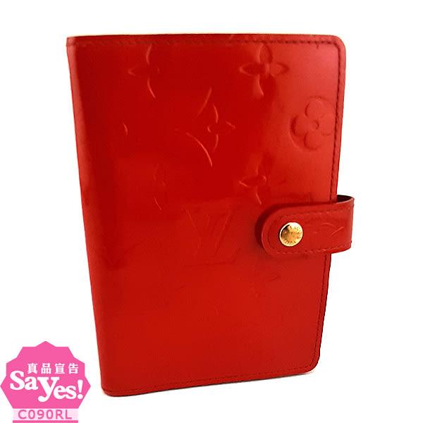 【奢華時尚】秒殺推薦!LV R21026 深紅色VERNIS壓紋漆皮六孔卡片夾記事本(八成新)#23240