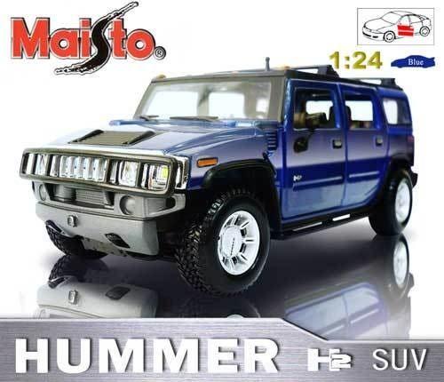 HUMMER H2 SUV《1/24 》合金模型車 藍色