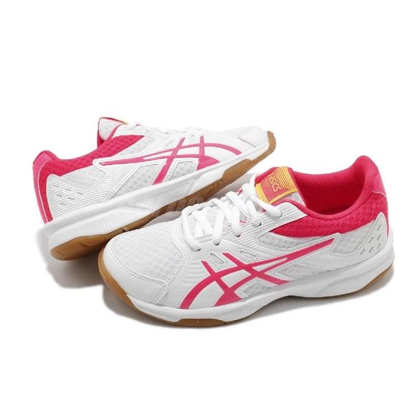 Asics 排球鞋 Upcourt 3 GS 白 粉紅 大童鞋 膠底 低筒 排羽球鞋 【ACS】 1074A005104