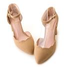 amai舒適首選-浪漫花瓣尖頭繫踝粗跟鞋 奶茶