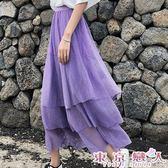 長裙 韓版半身裙鬆緊收腰網紗蛋糕裙★東京戀人MS.Q★7186