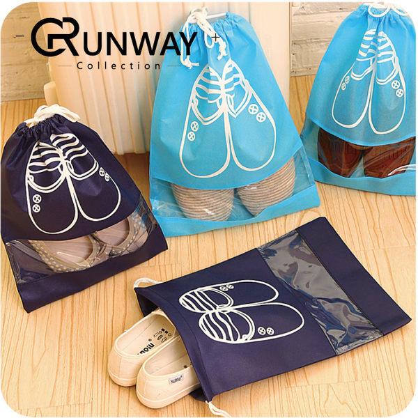 【R】藍色系 鞋子 圖案 加厚 衣物 鞋子 收納袋 (大號/中號)