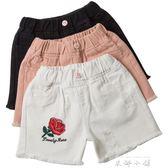 女童牛仔短褲2018新款韓版時尚夏中大童12-15歲寬鬆白色外穿薄款   米娜小鋪
