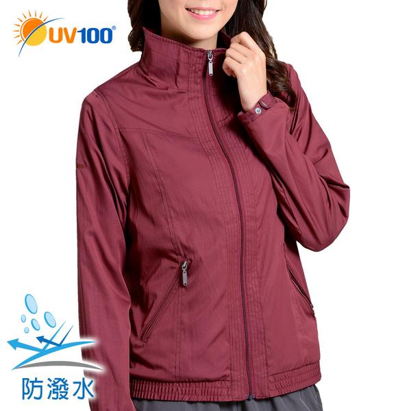 UV100 防曬 昇溫保暖-率性線條立領防風夾克-女