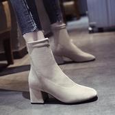 襪靴短靴女秋冬加絨2020新款粗跟ins網紅瘦瘦靴高跟靴百搭彈力襪靴女