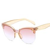 太陽鏡時尚墨鏡 復古貓眼眼鏡框金屬遮陽鏡【多多鞋包店】y107