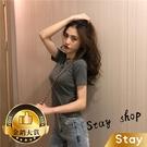 【Stay】韓版素色圓領彈性貼身短袖上衣...