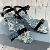 BRAND楓月 PRADA 1X469I 黑色 漆皮 藍色LOGO 底部印花 低跟 平底 涼鞋 拖鞋 #35.5