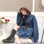 [618好康又一發]藍色牛仔襯衫女新款韓版寬鬆中長款學院