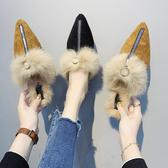 網紅毛毛半拖鞋女外穿2020秋季新款時尚百搭超火仙女風包頭拖