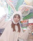 軟妹少女心毛絨兔子頭套耳朵帽子拍照道具