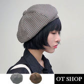 OT SHOP 帽子 千鳥格貝雷帽 南瓜帽 畫家帽 氣質穿搭配件 商品實拍 [現貨]2色 C2048