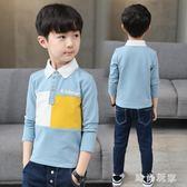 男童長袖T恤2018新款兒童翻領體恤保羅中大童休閑POLO衫zzy5456『時尚玩家』