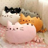 創意可愛福氣貓咪暖手抱枕毛絨靠墊卡通床頭靠背墊沙發辦公室腰靠WD 晴天時尚館