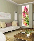 現代無框畫豎版玄關裝飾畫走廊三聯掛壁畫冰晶玻璃墻畫清新花谷朵LG-67047
