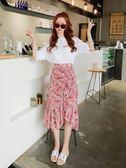 港味新款時尚半身長裙不規則雪紡高腰魚尾裙子女 GB3606『樂愛居家館』