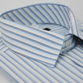 【金‧安德森】白底藍黑線條短袖襯衫