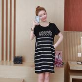 (批發價不退換)6030#大碼連身裙2019夏裝胖mm黑色氣質寬鬆名媛中長款裙G-673-C日韓屋
