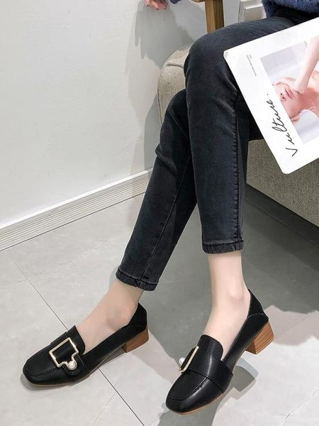 方頭奶奶鞋女2019春季新款韓版百搭學生粗跟中跟小皮鞋網紅單鞋子「時尚彩虹屋」