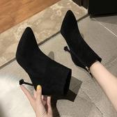 高跟鞋秋冬靴子高跟鞋靴女細跟加絨尖頭百搭黑色貓跟馬丁靴短靴交換禮物
