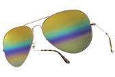 RayBan 太陽眼鏡 RB3025 9020C4 (金-彩虹閃光水銀綠) 時尚經典飛官款墨鏡 # 金橘眼鏡