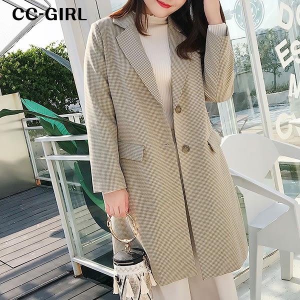 中大尺碼 格紋西裝領外套~共兩色 - 適XL~4L《 19337 》CC-GIRL