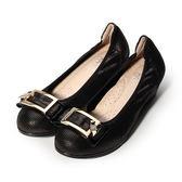 AGAPE 真皮方釦跟鞋 黑紫 女