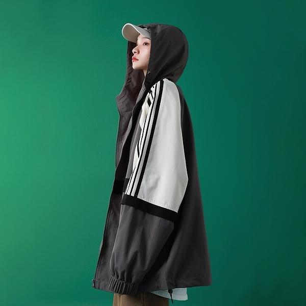 百搭時尚女生外套 連帽撞色洋氣女士外套 學生潮流女生外套 簡約女外套韓版外套 秋季夾克外套