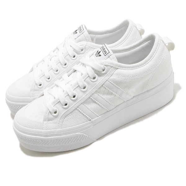 adidas 休閒鞋 Nizza Platform W 白 全白 帆布 女鞋 厚底 增高 【ACS】 FV5322