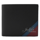 茱麗葉精品【全新現貨】PRADA 2MO513 經典LOGO雙色八卡短夾.黑/暗紅