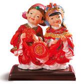 【金石工坊】囍結緣-才子佳人結婚婚禮擺飾(高19CM)-中國風 結婚禮物 居家擺飾 桌上擺飾