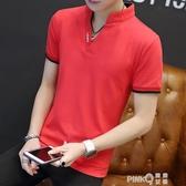 2019潮流新款短袖男T恤 V領純棉夏裝韓版衛衣長袖立領上衣服 (pinkQ 時尚女裝)