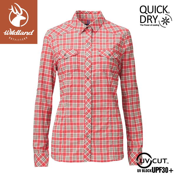 【Wildland 荒野 女 彈性抗UV格子長袖襯衫《玫瑰紅》】0A81201/POLO衫/運動衣/休閒衫