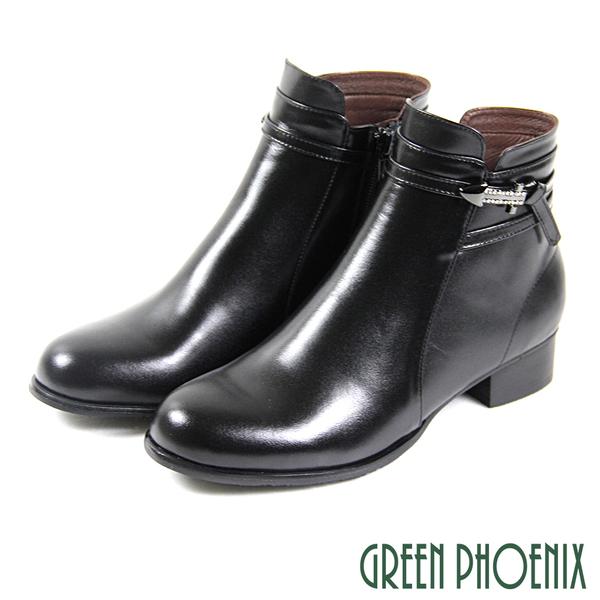 U15-20057 女款全真皮小坡跟短靴  箭頭水鑽繞踝扭結全真皮粗跟短靴【GREEN PHOENIX】