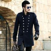 毛呢大衣-羊毛宮廷風修身軍裝中長款男雙排扣外套2色72ar5[巴黎精品]