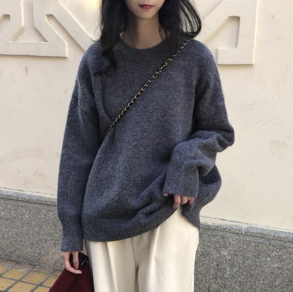 复古港味套头毛衣女秋冬外穿2020新款韩版宽松慵懒针织衫上衣加厚