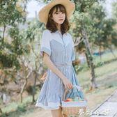 冷淡風洋裝 新款韓版女夏季學生拼接中長裙子小清新文藝寬鬆冷淡風洋裝 夢幻衣都
