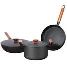 無塗層鐵鍋具套裝三件套不粘鍋炒鍋平底鍋湯鍋鍋【618店長推薦】